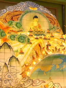 A close up of the back of the float. Notice the 3D Buddhas manifesting from the cosmic Buddha into this world.